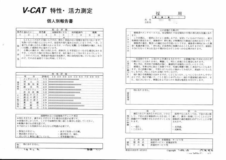 V-cat適正検査結果