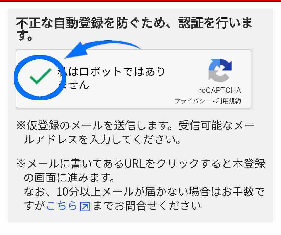 A8.netの登録方法03A8.netのアドレス仮登録の認証チェックを入れる