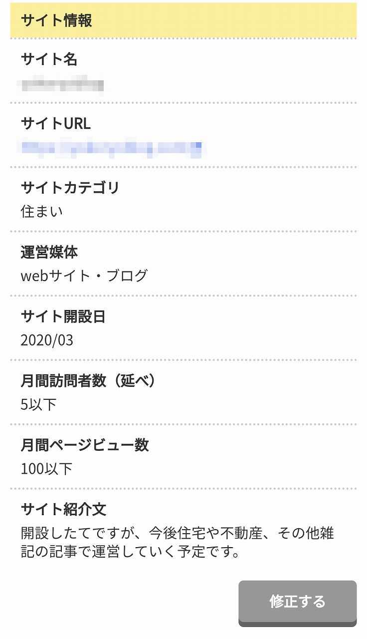 A8.netの登録情報の確認画面(サイト情報)