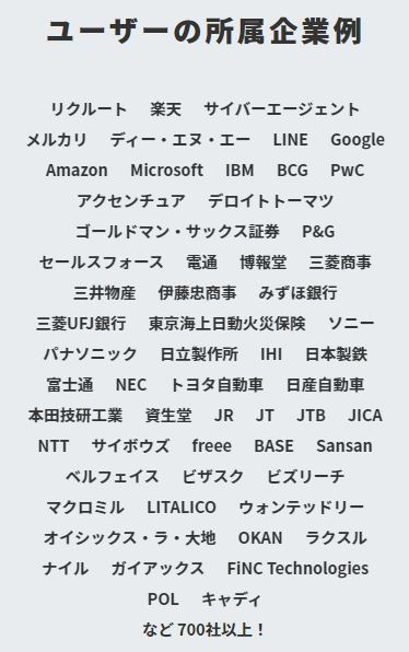 CREEDO登録ユーザーの所属企業